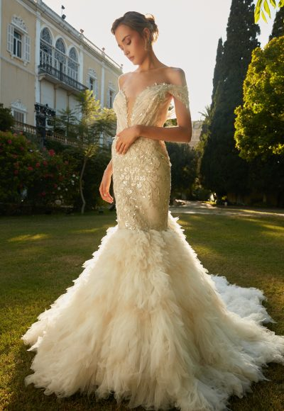 V-Neck Off The Shoulder Mermaid Wedding Dress With Beaded Detail by Tony Ward