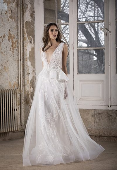 V-Neck Sleeveless A-Line Wedding Dress With Floral Appliques by Tony Ward