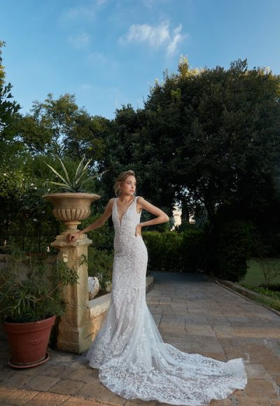 V-Neck Sleeveless Mermaid Lace Wedding Dress by Tony Ward