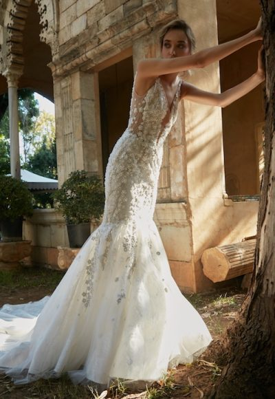 V-Neck Sleeveless Mermaid Wedding Dress With Floral Appliques by Tony Ward