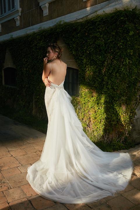 V-Neck Spaghetti Strap Mermaid Beaded Wedding Dress by Tony Ward - Image 2