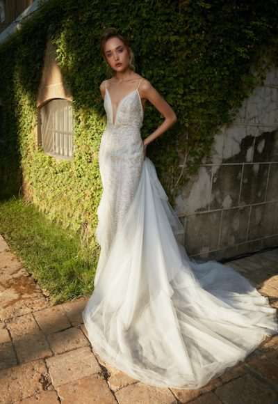 V-Neck Spaghetti Strap Mermaid Beaded Wedding Dress by Tony Ward