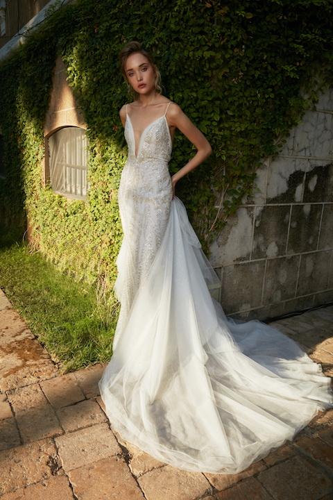 V-Neck Spaghetti Strap Mermaid Beaded Wedding Dress by Tony Ward - Image 1