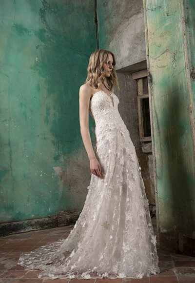 V-Neck Strapless A-Line Wedding Dress With Floral Appliques by Tony Ward