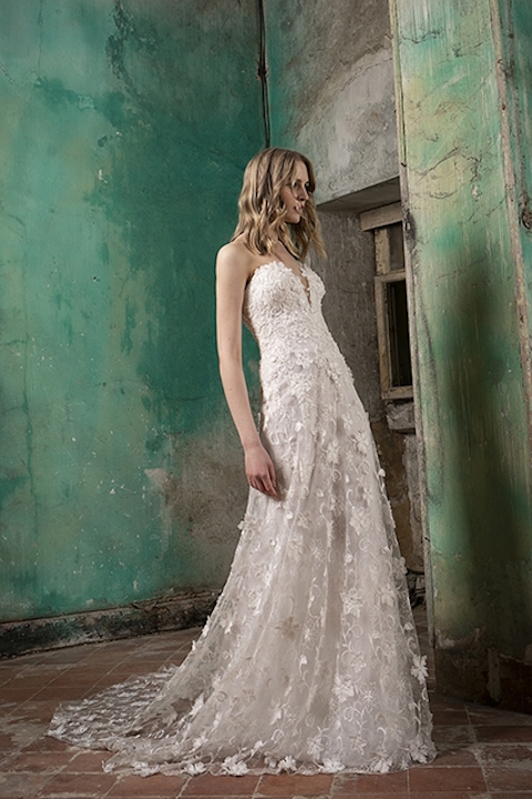 V-Neck Strapless A-Line Wedding Dress With Floral Appliques by Tony Ward - Image 1