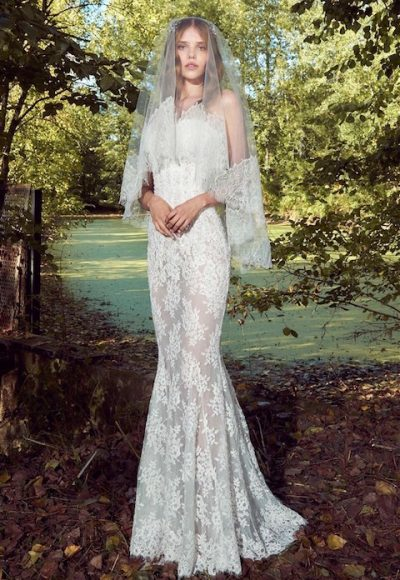 Strapless Sweetheart Sheath Wedding Dress With Lace Details by Zuhair Murad