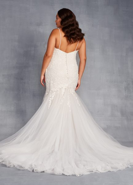 V-Neck Spaghetti Strap Lace Mermaid Wedding Dress by Danielle Caprese - Image 2