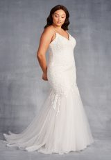 V-Neck Spaghetti Strap Lace Mermaid Wedding Dress by Danielle Caprese - Image 3