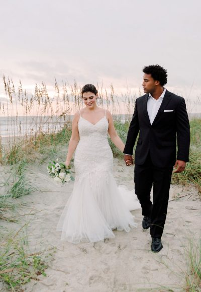 V-Neck Spaghetti Strap Lace Mermaid Wedding Dress by Danielle Caprese