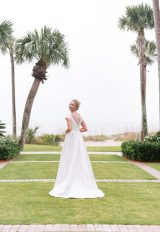 Illusion Cap Sleeve Satin A-line Wedding Dress by Le Spose Di Gio - Image 2
