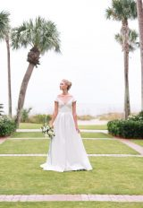 Illusion Cap Sleeve Satin A-line Wedding Dress by Le Spose Di Gio - Image 1