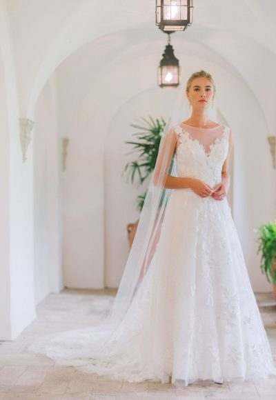 Sleeveless Illusion Neckline A-line Wedding Dress With Lace by Michelle Roth