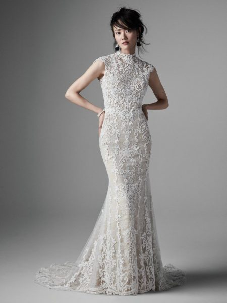 Strapless Sweetheart Neckline Beaded Lace Fit And Flare Wedding Dress by Maggie Sottero - Image 2
