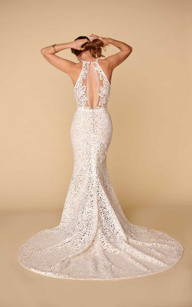 Halter Neckline Lace Sheath Wedding Dress by All Who Wander - Image 2