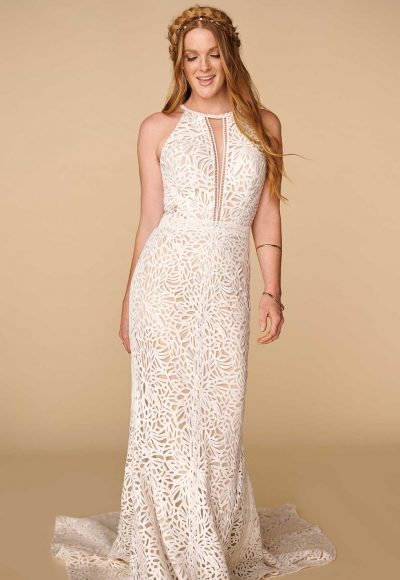 Halter Neckline Lace Sheath Wedding Dress by All Who Wander
