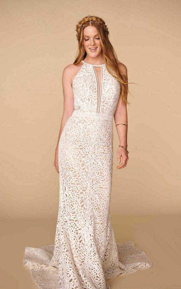 Halter Neckline Lace Sheath Wedding Dress by All Who Wander - Image 1