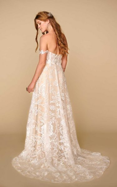 Off The Shoulder Straight Neckline Lace A-line Wedding Dress by All Who Wander - Image 2