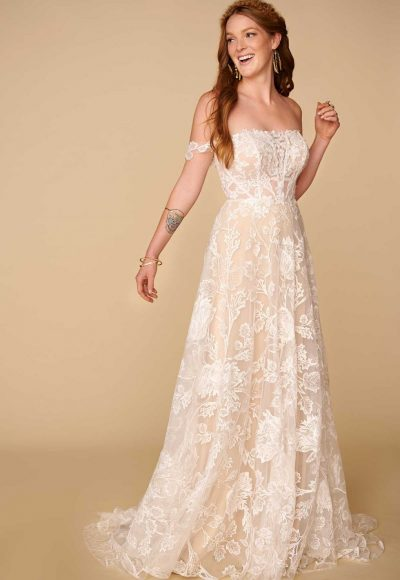 Off The Shoulder Straight Neckline Lace A-line Wedding Dress by All Who Wander