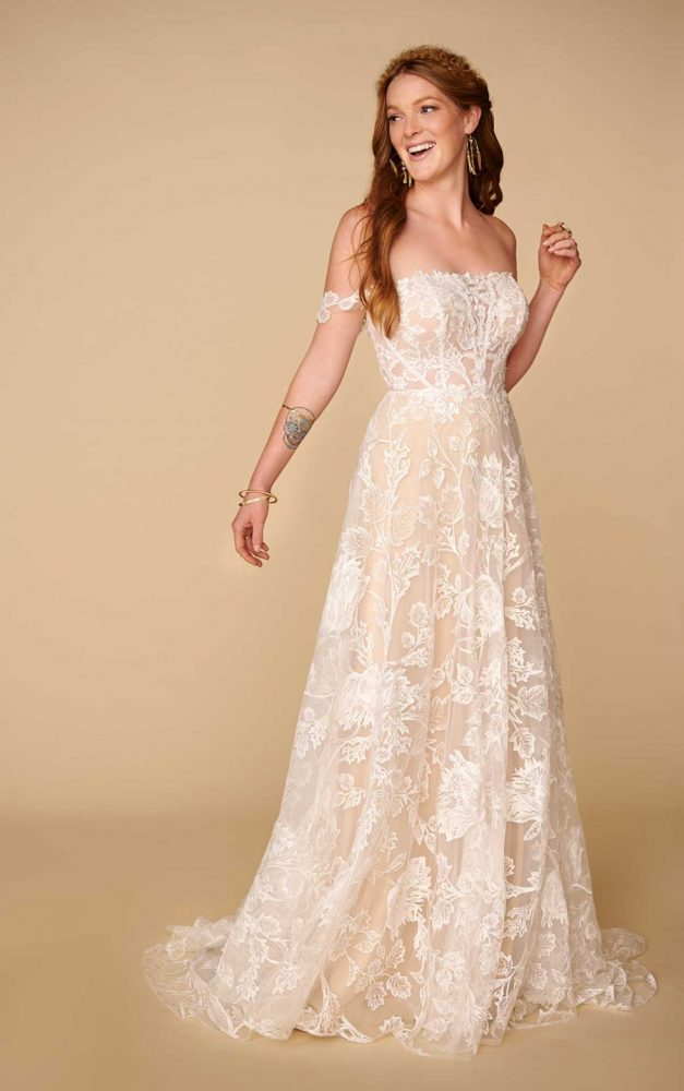 Off The Shoulder Straight Neckline Lace A-line Wedding Dress by All Who Wander - Image 1