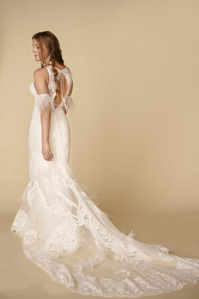 Sleeveless V-neckline Lace Sheath Wedding Dress With Feathers by All Who Wander - Image 2