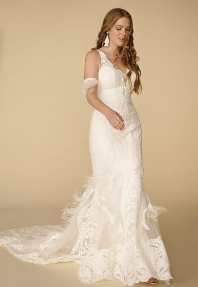 Sleeveless V-neckline Lace Sheath Wedding Dress With Feathers by All Who Wander