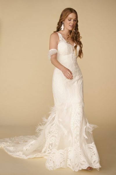 Sleeveless V-neckline Lace Sheath Wedding Dress With Feathers by All Who Wander - Image 1