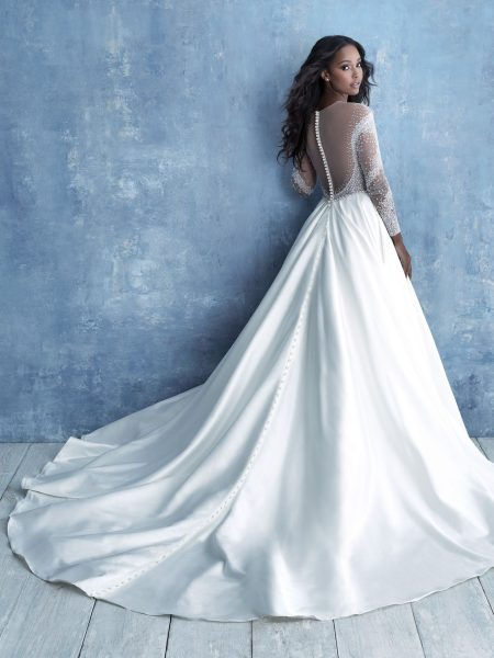 Long Sleeve Illusion Bodice Ball Gown Wedding Dress by Allure Bridals - Image 2