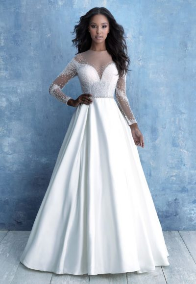 Long Sleeve Illusion Bodice Ball Gown Wedding Dress by Allure Bridals