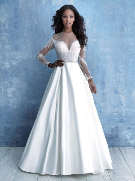 Long Sleeve Illusion Bodice Ball Gown Wedding Dress by Allure Bridals - Image 1