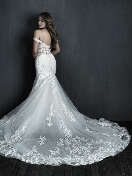Off The Shoulder Fity And Flare Crepe Beaded Wedding Dress by Allure Bridals - Image 2