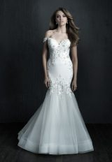 Off The Shoulder Fity And Flare Crepe Beaded Wedding Dress by Allure Bridals - Image 1