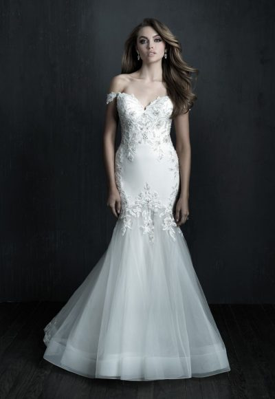 Off The Shoulder Fity And Flare Crepe Beaded Wedding Dress by Allure Bridals