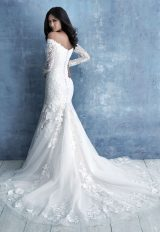 Off The Shoulder Long Sleeve Lace Fit And Flare Wedding Dress by Allure Bridals - Image 2