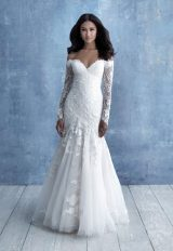 Off The Shoulder Long Sleeve Lace Fit And Flare Wedding Dress by Allure Bridals - Image 1