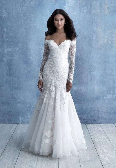 Off The Shoulder Long Sleeve Lace Fit And Flare Wedding Dress by Allure Bridals