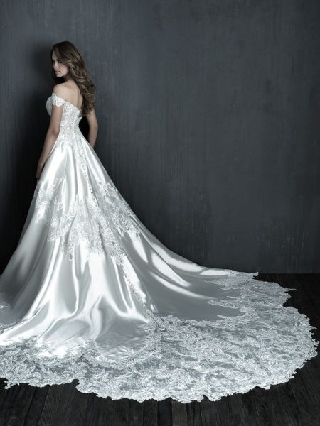 Off The Shoulder Mikado Ball Gown Wedding Dress by Allure Bridals - Image 2