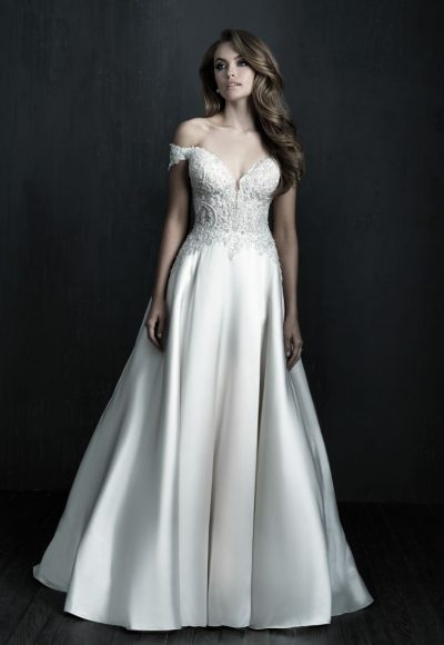 Off The Shoulder Mikado Ball Gown Wedding Dress by Allure Bridals
