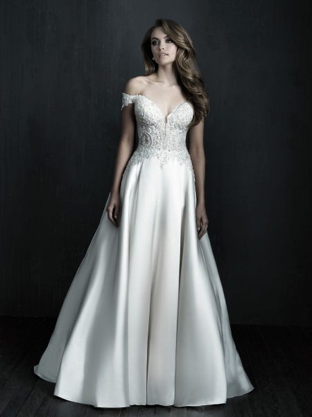 Off The Shoulder Mikado Ball Gown Wedding Dress by Allure Bridals - Image 1
