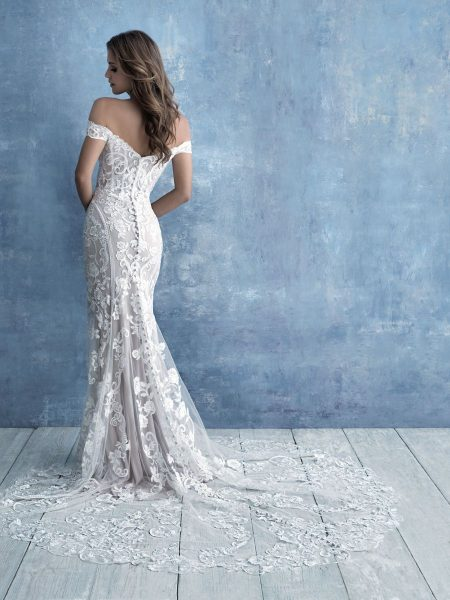 Off-the-shoulder Sweetheart Neckline Lace Sheath Wedding Dress by Allure Bridals - Image 2