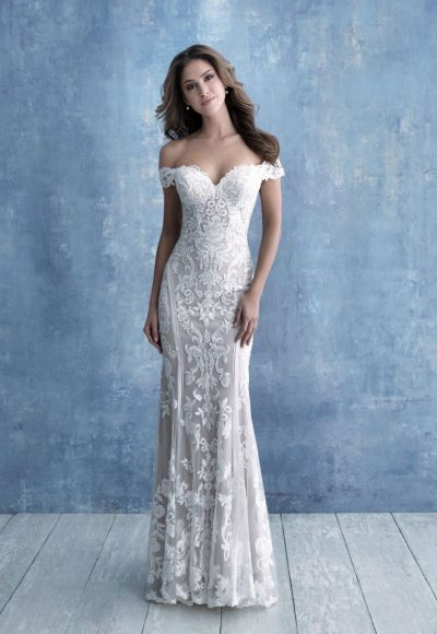 Off-the-shoulder Sweetheart Neckline Lace Sheath Wedding Dress by Allure Bridals