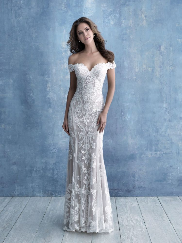 Off-the-shoulder Sweetheart Neckline Lace Sheath Wedding Dress by Allure Bridals - Image 1