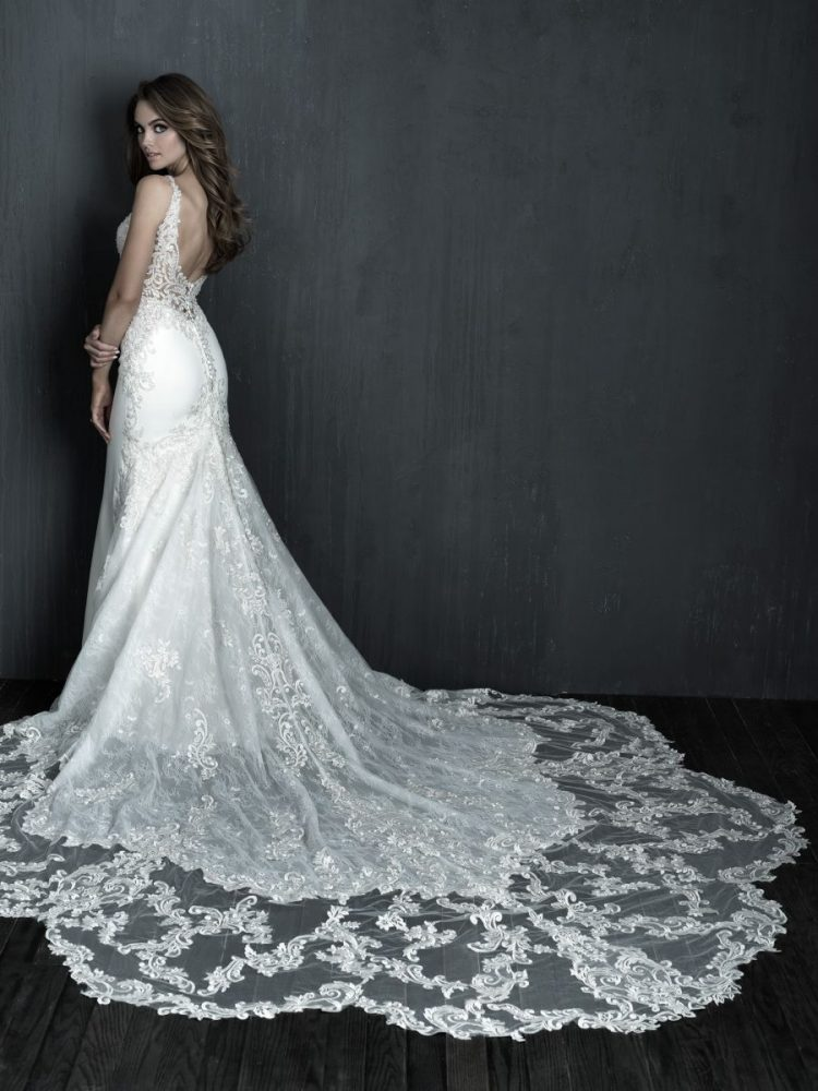 Sleeveless Fit And Flare Crepe Wedding Dress by Allure Bridals - Image 2