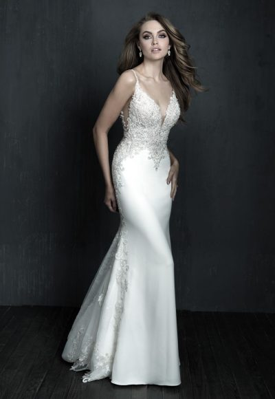Sleeveless Fit And Flare Crepe Wedding Dress by Allure Bridals