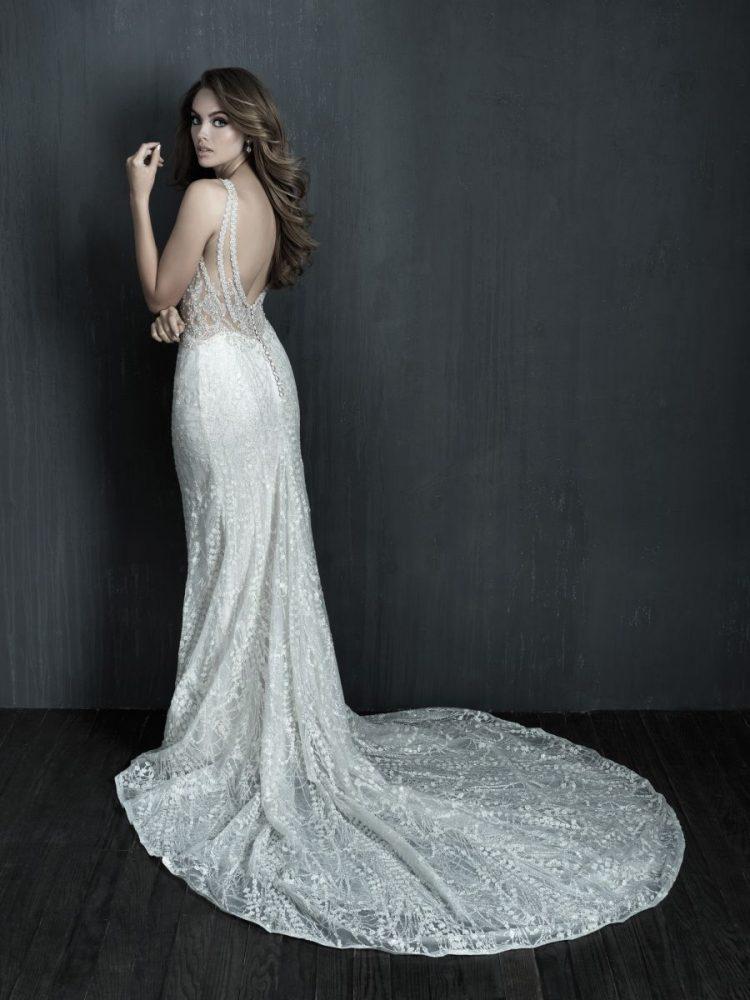 Sleeveless V-neck Lace Sheath Wedding Dress by Allure Bridals - Image 2