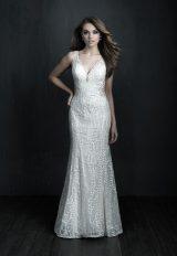 Sleeveless V-neck Lace Sheath Wedding Dress by Allure Bridals - Image 1