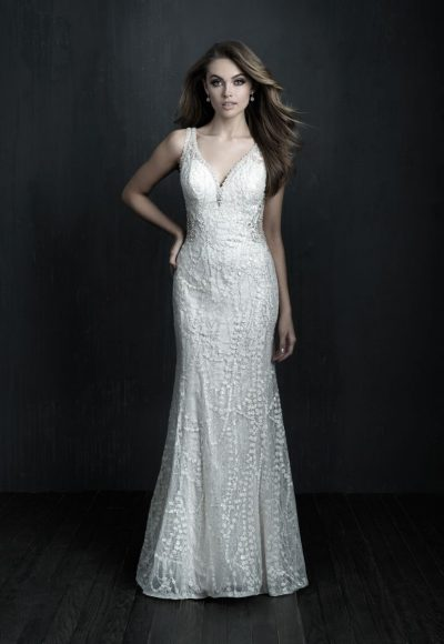 Sleeveless V-neck Lace Sheath Wedding Dress by Allure Bridals