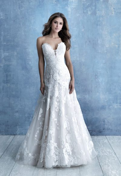Strapless Sweetheart Neckline A-line Wedding Dress With Floral Appliques by Allure Bridals