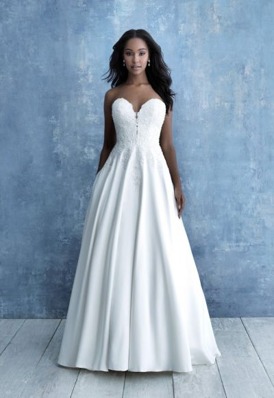 Strapless Sweetheart Neckline Lace Mikado A-line Wedding Dress by Allure Bridals