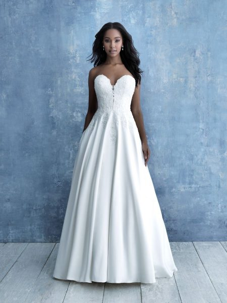 Strapless Sweetheart Neckline Lace Mikado A-line Wedding Dress by Allure Bridals - Image 1