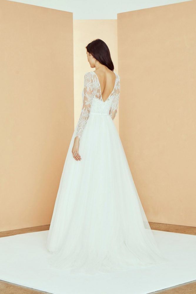 3/4 Sleeve V-neckline A-line Wedding Dress With Lace Bodice And Tulle Skirt by Nouvelle Amsale - Image 2